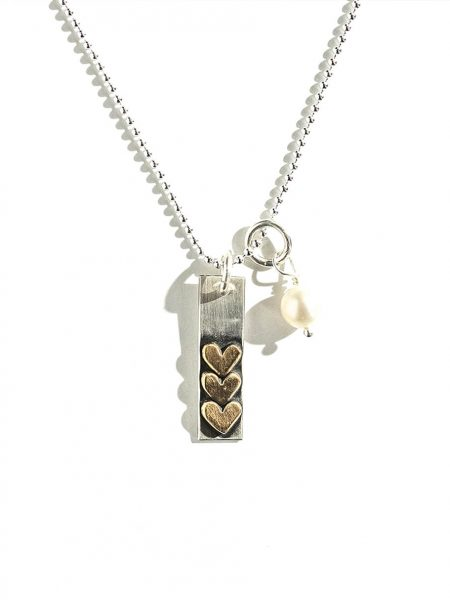 Sterling silver charm stacked with gold-filled hearts, hand-stamped with any word, name, or scripture. Personalized jewelry for mom or grandma