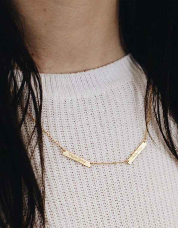 Golden Personalized Bar Necklace