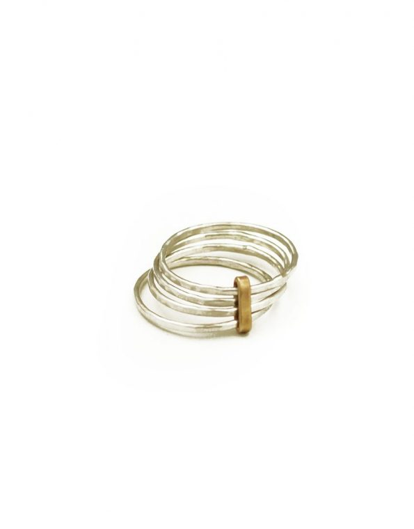 """A golden metal """"tie"""" binds together sterling silver rings. Great gift for mom, grandma, wife, sister"""
