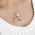 Heart sterling silver necklace with a special secret message inside the heart. Perfect gift for wife, mom, friend.