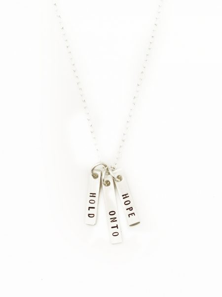 Sterling silver necklace hand stamped with Hold Onto Hope is an absolutely perfect gift for friend, sister, daughter.