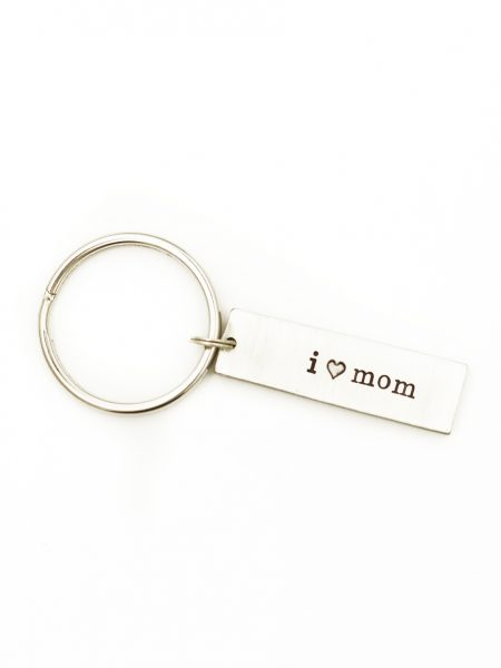Hand stamped with personalized message, this I heart you keychain is the perfect gift for that special someone.