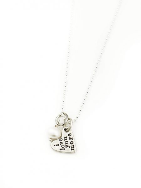 "2 small sterling hearts with ""i love you more"" hand stamped on the back. Great gift for wife, fiancee, friend"