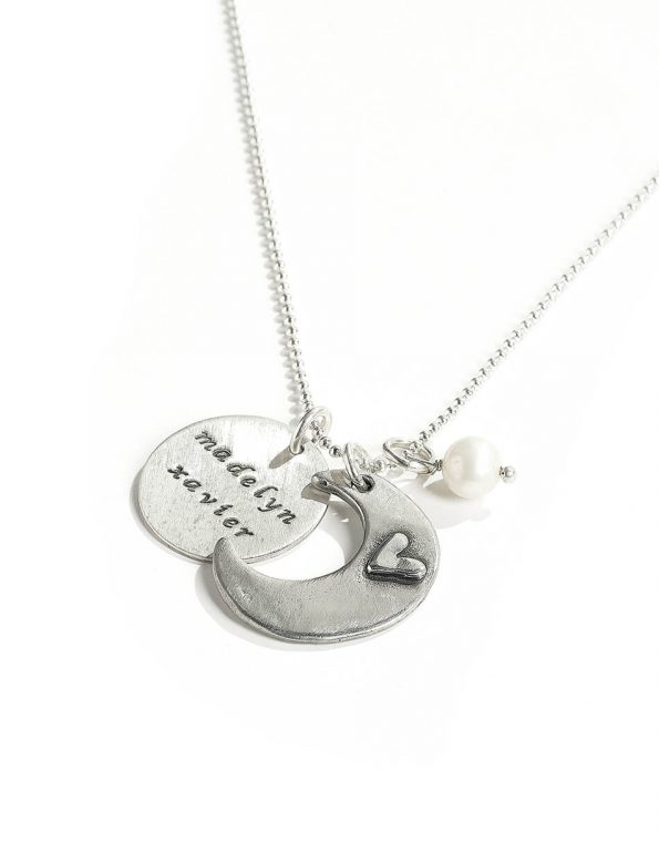Perfect gift for mom, wife. A moon charm with a lovely message and a heart. Names on the disc make for the perfect personalized necklace