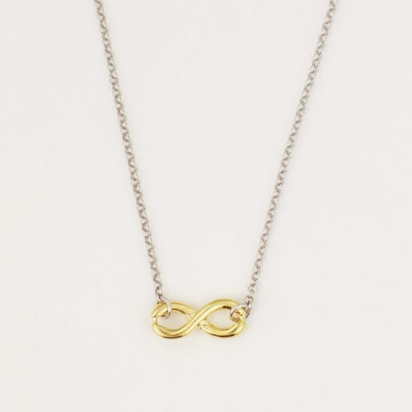 Sterling silver chain and gold plated infinite charm is a perfect keepsake. Gift to your wife, mom, sister or friend