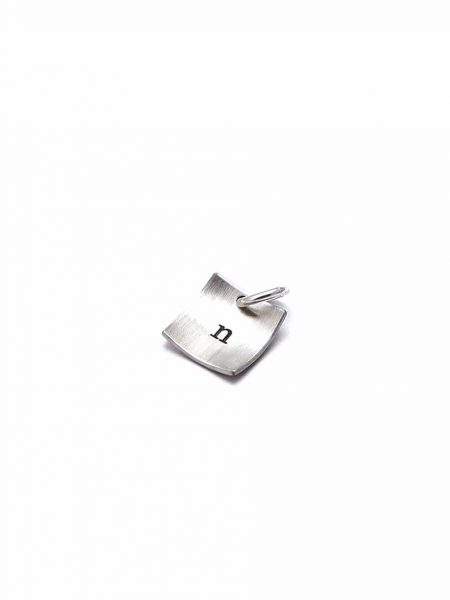 Square sterling silver charm with hand stamped initial. Perfect gift for a girl of any age