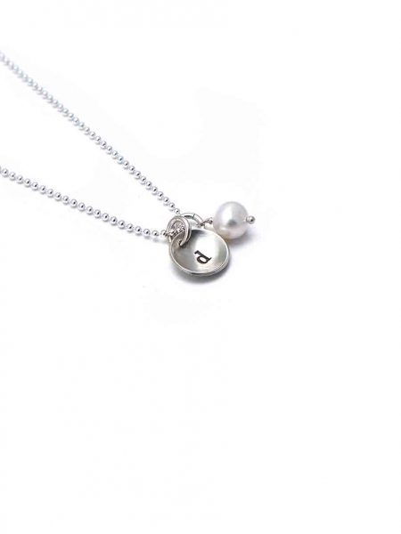 Sterling silver charms hand stamped with initial. Add additional pearls or birthstones to this charm. Perfect gift for her