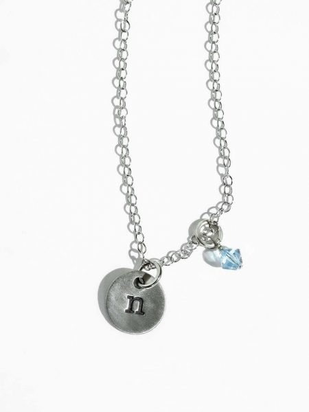 Small initial charm in fine pewter, hand stamped with your choice of initial. Perfect personalized necklace for wife, sister
