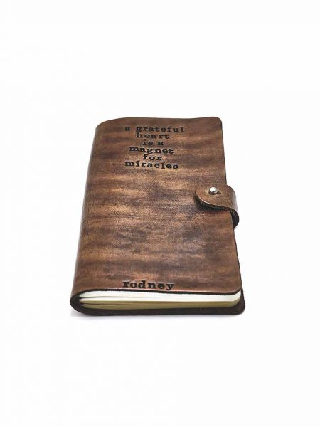 Personalized gift for boss, colleague or a friend. A leather journal hand tamped with custom message and name