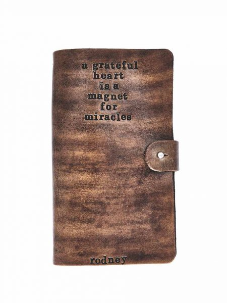 Gift a custom hand stamped leather journal as a beautiful keepsake. Perfect gift for a boss, colleague or a friend