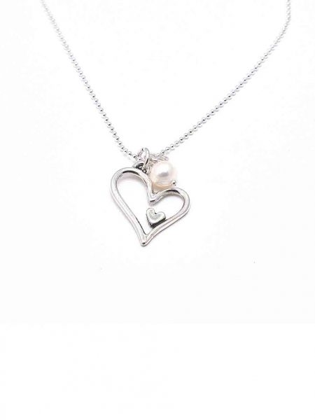 Sterling silver heart charm, hung on a sterling silver ball chain with a freshwater pearl. Perfect jewelry gift for wife