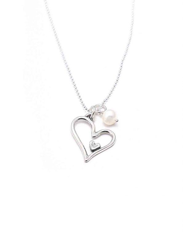 Sterling silver heart charm, hung on a sterling silver ball chain, adorned with a freshwater pearl. Perfect gift for a loved one