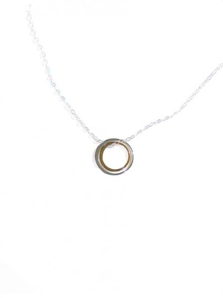 A beautiful sterling silver circle hung beside a gold-filled circle, on a sterling dainty chain. Best jewelry gift for a mother and daughter