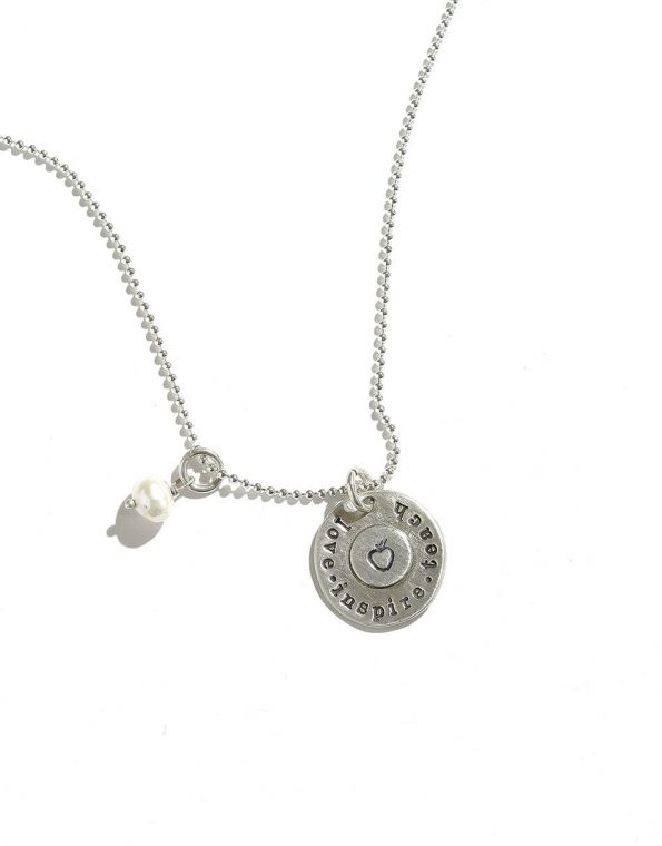 """Sterling silver disc with """"Love.Inspire.Teach"""" message and an apple in the center. Perfect gift for your teacher."""