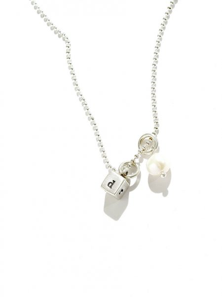 Sterling silver cube necklace with hand stamped initials along with a freshwater pearl. Perfect gift for a grandma, mom, wife