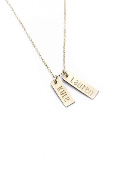 Capture the place, the city, the date, or the time on a gold-filled rectangle, hung on a gold dainty chain or sterling ball chain.