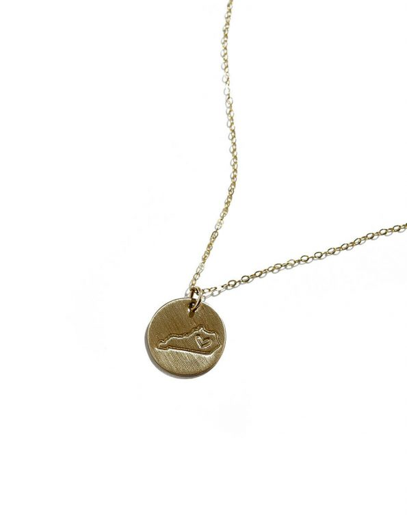 Sterling silver or gold filled disc, hand stamped with your favourite US state. Perfect personalized gift for a sibling or friend.