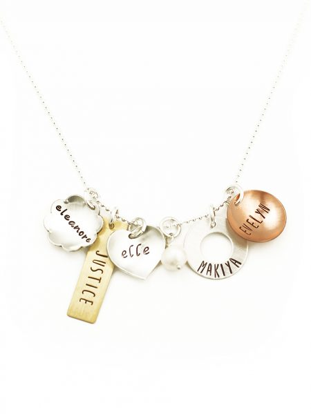 Create a beautiful mixed metals charm necklace with names engraved on them. Perfect gift for wife, mom, grandma