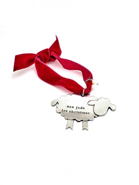 """My Little Lamb"" ornament hand sculpted in fine pewter and hand stamped with message. Perfect gift for a baby"