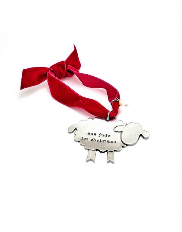 """""""My Little Lamb"""" ornament hand sculpted in fine pewter and hand stamped with message. Perfect gift for a baby"""