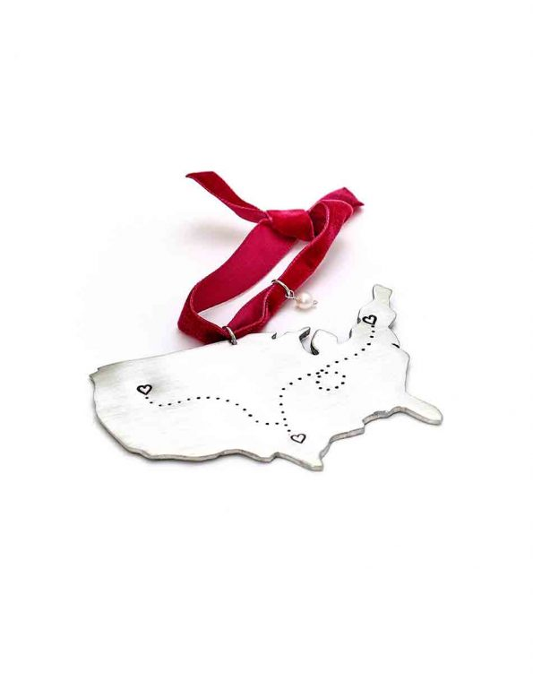 Perfect ornament for family or friends that are miles away. Add upto 4 locations