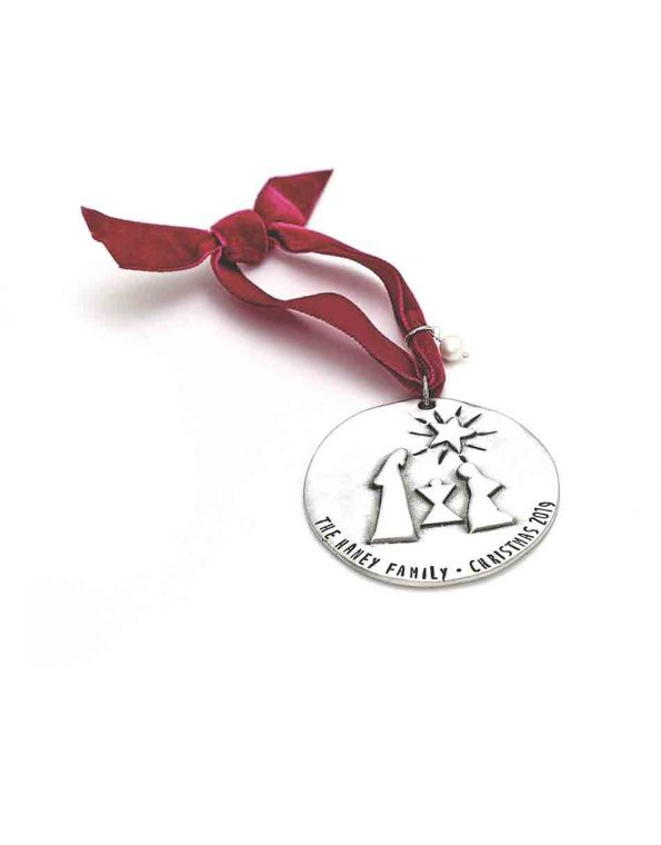 Oh Holy Night ornament made in fine pewter, hung on a velvet ribbon and topped off with a freshwater pearl. Perfect Christmas gift for families