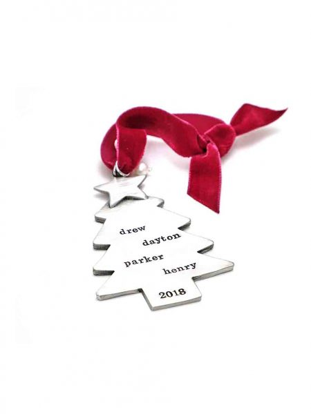A fine pewter Christmas tree hung on a red velvet ribbon, with message or names hand stamped on it. Perfect gift for Christmas