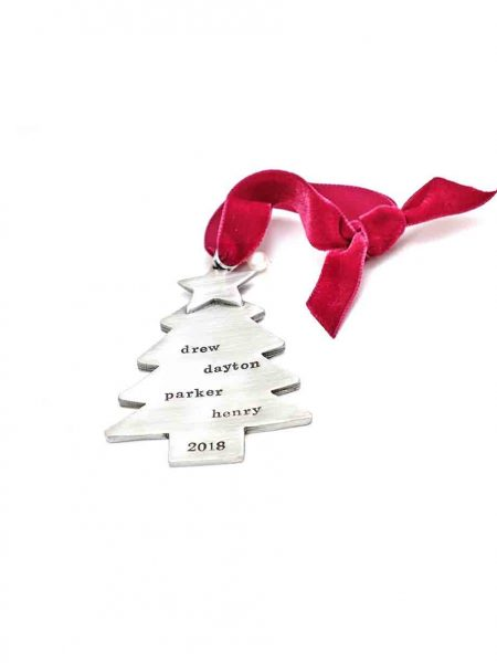 Handmade christmas tree adorned with a star on top and hand stamped with names of message. Perfect christmas gift for your family