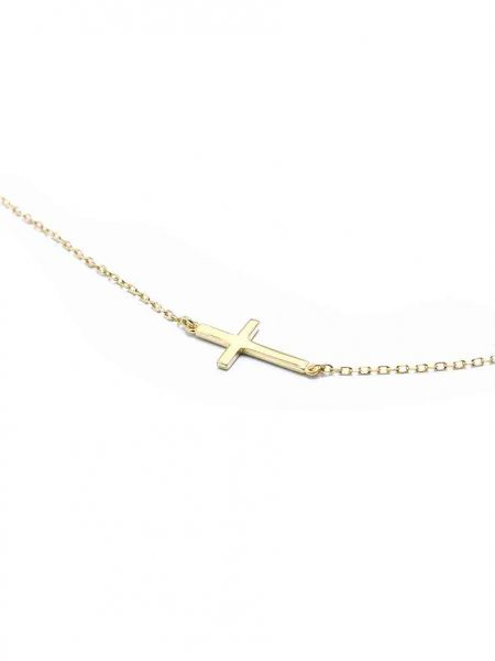 Best cross necklace for a mom or a grandma. Gold-plated sterling silver cross hung on a gold-plated chain