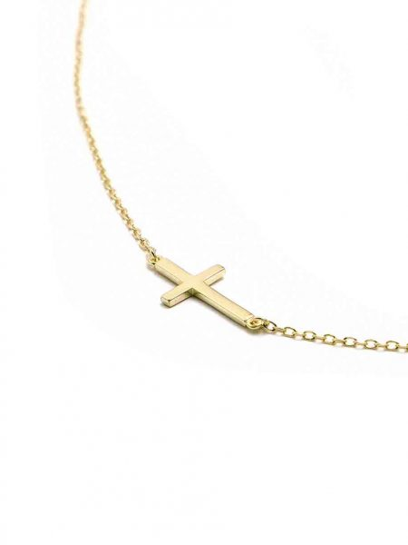 A gold-plated sterling silver cross hung on a gold-plated adjustable chain. Perfect necklace gift for a mom or a grandma