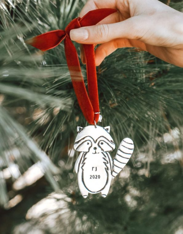 Rowdy The Raccoon ornament is a perfect gift for kids. Customize it with their names and dates on it