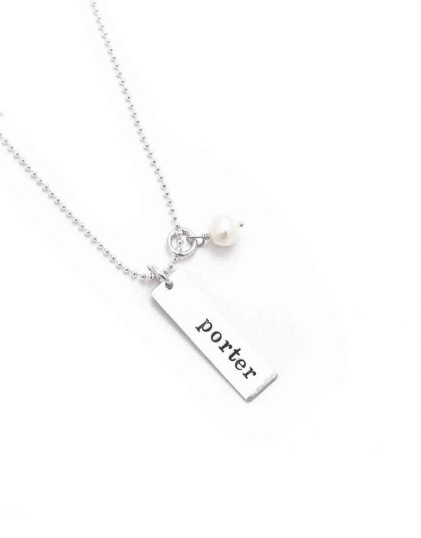 Rectangle Names On A Sterling Silver Chain