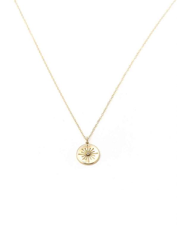 Starlight coin is made in 16K gold-plated brass and hung on a beautiful gold-filled dainty chain. Perfect gift for wife, mom, sister