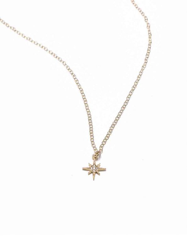 North star charm made in 16K gold-plated brass and hung on a sweet gold filled dainty chain. Perfect for mom, grandma, sister