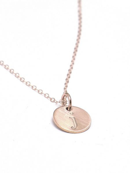 Beautiful dainty rose gold circles necklace with engraved initials. Perfect gift for a mom, best friend
