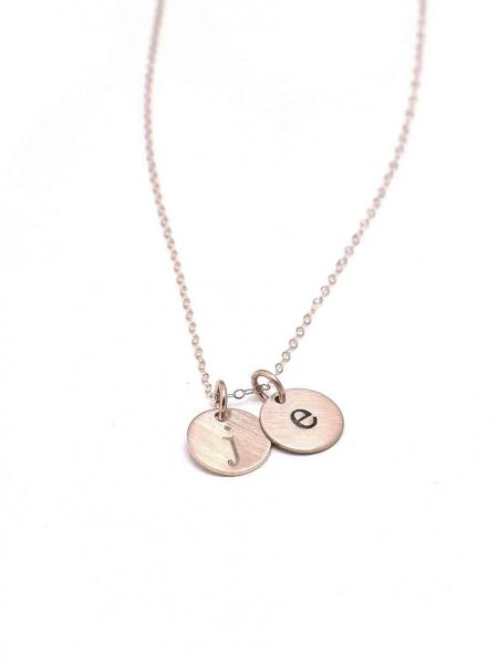 Beautiful dainty rose gold circles necklace with engraved initials. Perfect gift for a new mom, best friend
