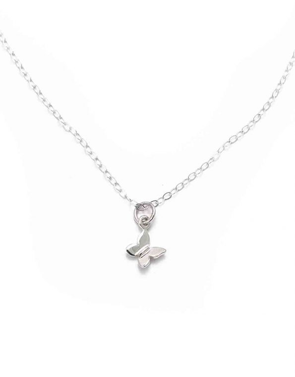 Sterling silver butterfly hung on a beautiful sterling silver dainty chain. Perfect jewelry gift for a friend or a daughter.