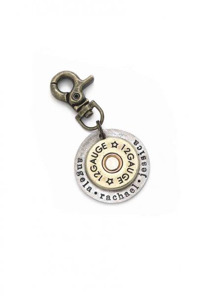 Best personalized gift for grandpa, dad, brother. A shotgun shell riveted in the middle of a hand stamped disc.