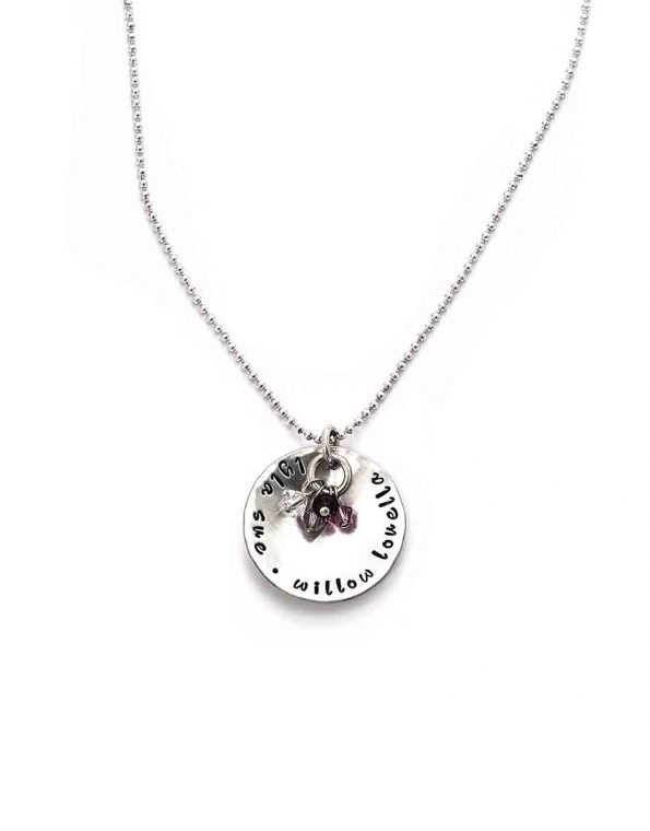 Wear your loved ones names and birthstones proudly with this silver and stone sterling silver necklace