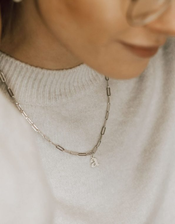 silver-dainty-paperclip-charm-necklace-model