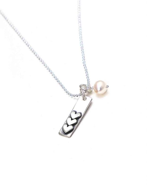 Silver Love Stack Charm Necklace