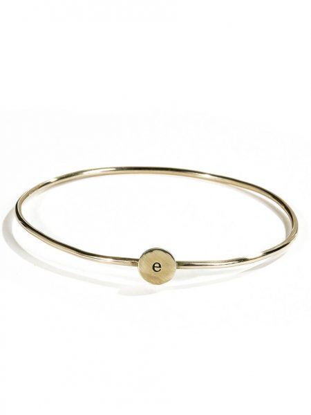 Simple sterling silver or gold filled bangle, hand stamped with initial. Personalized braclet for her