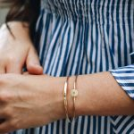 Simple initial bangle in sterling silver or gold filled, hand stamped with initial. Personalized bracelet for grandma