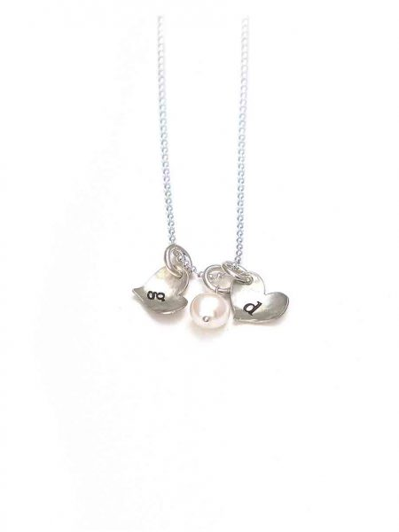 Personalized initials necklace for mom, wife. Sterling silver hearts with hand stamped initials