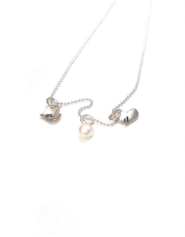 Simple Initial Hearts Necklace