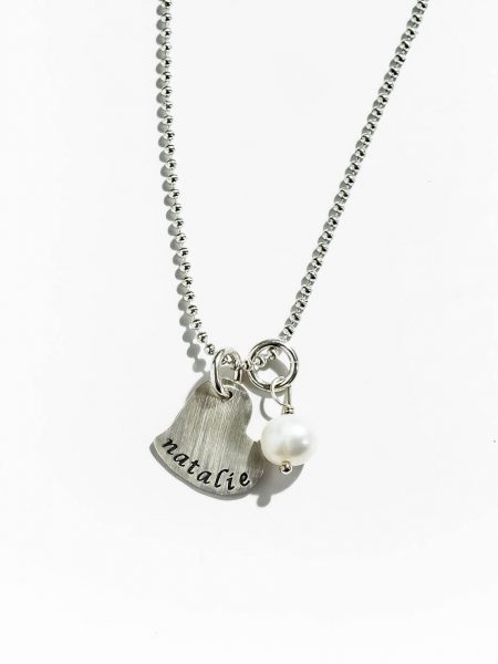 Perfect name jewelry for wife, mom. Hand stamped sterling silver heart with a fresh water pearl