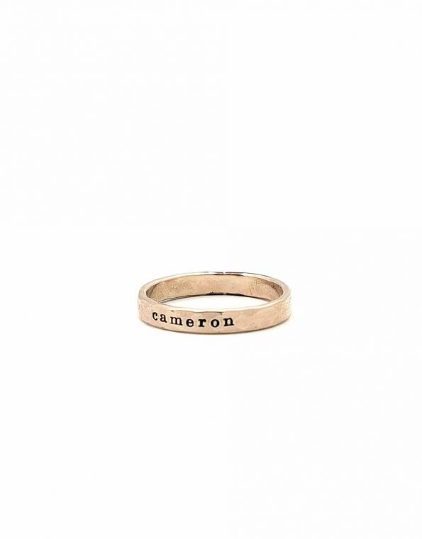 Skinny Message Name Ring Gold