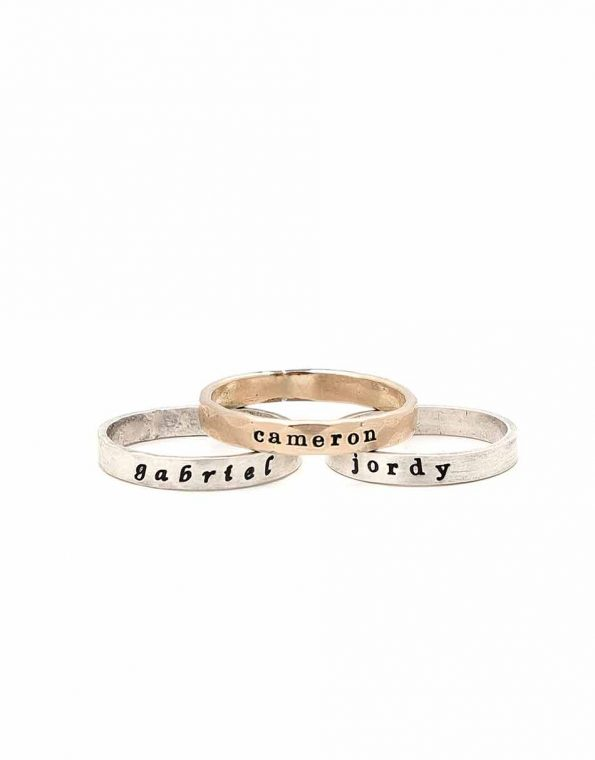 Sterling Silver and Gold Rings with names hand stamped.