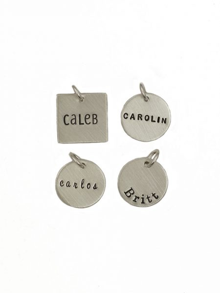 Choose between a sterling silver circle or a square charm with name engraved on it. Perfect gift for mom, grandma, wife