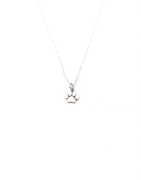 Made in sterling silver, this paw charm is hung on a beautiful sterling silver dainty chain. Sweetest necklace gift for an animal lover.